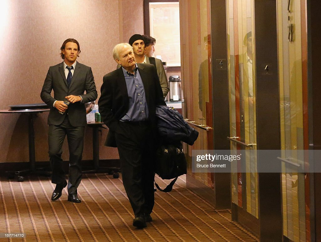 At about 1am Thursday morning members of the NHLPA negotiating committee, Brad Richards of the New York Rangers, Executive Director Donald Fehr and Ryan Miller of the Buffalo Sabres leave the Westin Times Square on December 6, 2012 in New York City.