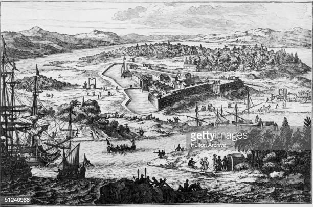 At 'Arx Carolina' between the rivers Ashley and Cooper lies the fortified settlement of Charleston South Carolina 1673 Original Artwork Engraving...
