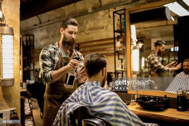 At barber shop