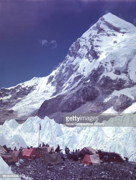 At Base Camp with Lingtren behind Nepal March 1953 Mount Everest Expedition 1953