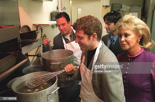 At Cafe Louis cooking for Max Warburg Foundation dinner benefit Chef Michael Schlow Chef Bobby Flay of NY's Mesa Grill Seth Grenberg and Joan Kennedy...
