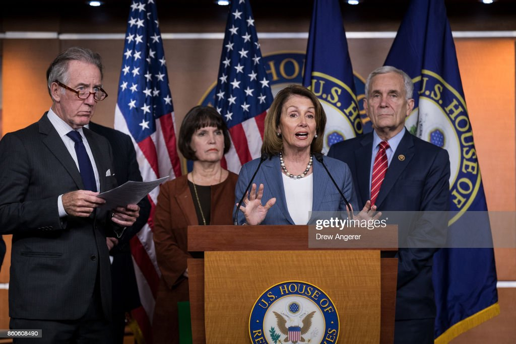 At center, House Minority Leader Nancy Pelosi (D-CA) speaks during a news conference on Republican plans to end the state and local tax deduction, on Capitol Hill, October 12, 2017 in Washington, DC. Also pictured (L to R), ranking member of the House Ways and Means Committee Rep. Richard Neal (D-MA), Rep. Betty McCollum (D-MN), and Rep. Lloyd Doggett (D-TX). The Democrats called on Congressional Republicans to hold open and public hearings on their plans for tax reform.