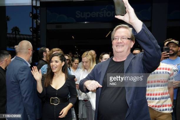 DIEGO 2019 NBC at ComicCon Pictured America Ferrera Mark McKinney at NBC's 'Superstore' activation at the Hard Rock Hotel San Diego Calif on July 18...