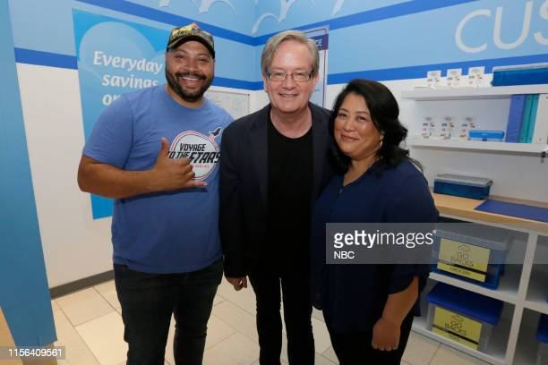 DIEGO 2019 NBC at ComicCon Pictured Colton Dunn Mark McKinney Kaliko Kauahi at NBC's 'Superstore' activation at the Hard Rock Hotel San Diego Calif...