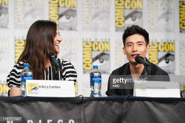 DIEGO 2019 NBC at ComicCon Pictured D'Arcy Carden Manny Jacinto at 'The Good Place' Panel at the Hilton Bayfront San Diego Calif on July 20 2019