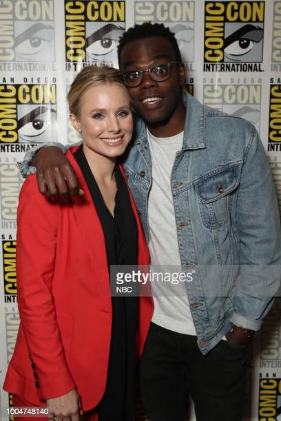 DIEGO 2018 NBC at ComicCon Pictured Kristen Bell William Jackson Harper at the 'The Good Place' Press Room at the Hilton Bayfront San Diego Calif