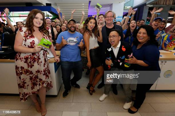 DIEGO 2019 NBC at ComicCon Pictured Lauren Ash Colton Dunn Nichole Bloom Mark McKinney Nico Santos Kaliko Kauahi and fans at NBC's 'Superstore'...