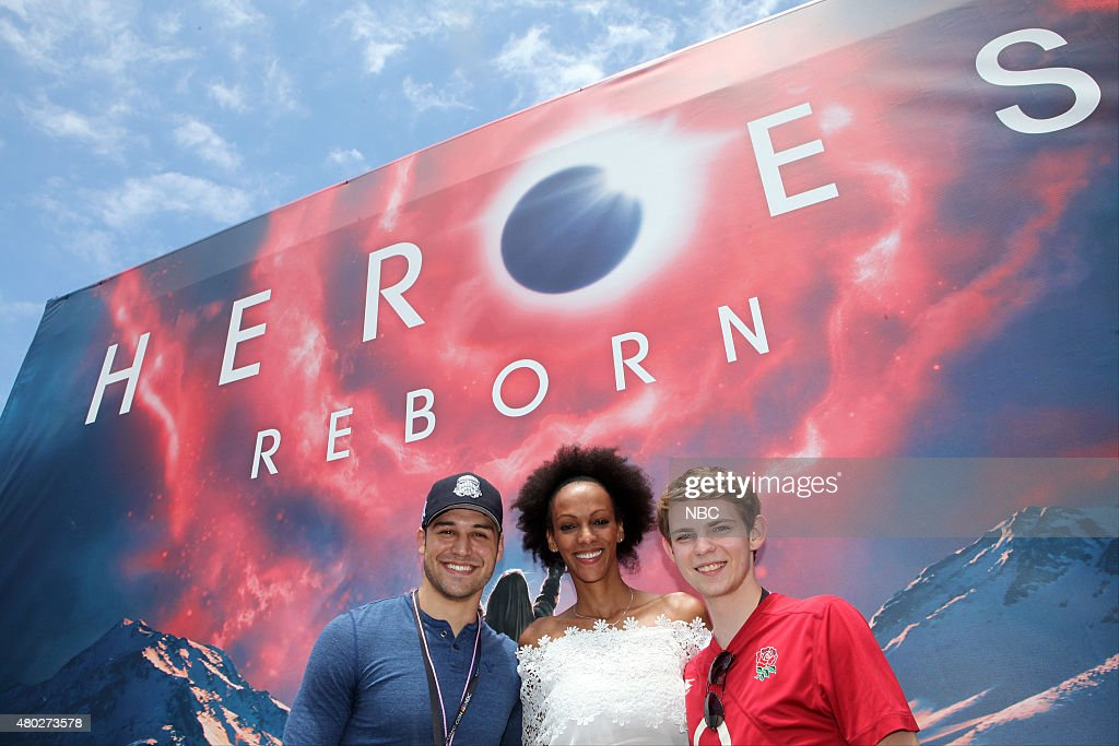 SAN DIEGO 2015 -- 'NBC at Comic-Con' -- Pictured: (l-r) Ryan Guzman, Judith Shekoni, Robbie Kay at the 'Heroes Reborn' Installation, Friday, July 10, 2015, from Tin Fish Gaslamp, San Diego, Calif. --