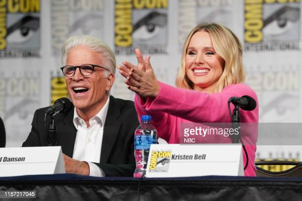 "At Comic-Con"" -- Pictured: Ted Danson, Kristen Bell at 'The Good Place' Panel at the Hilton Bayfront, San Diego, Calif. On July 20, 2019 --"