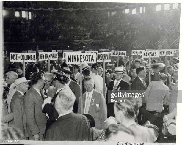 At Convention Opening Tumult and confusion reigned at the opening of the Democratic National Convention in Chicago and here are delegates swarming...