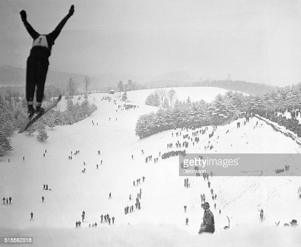 At Dartmouth Winter Carnival RP Goldthwait of Dartmouth soars into space during the ski jumping event at the 23rd annual Dartmouth Winter Carnival at...