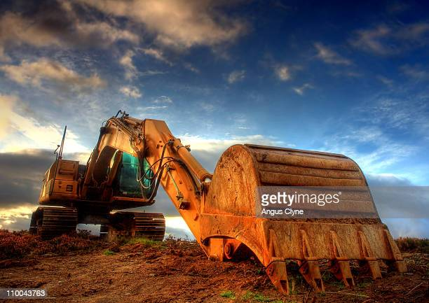 jcb at dawn - excavator stock photos and pictures