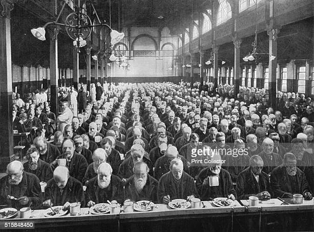 At dinner St Marylebone Workhouse London circa 1901 From Living London Vol II by George R Sims [Cassell and Company Limited London Paris New York...