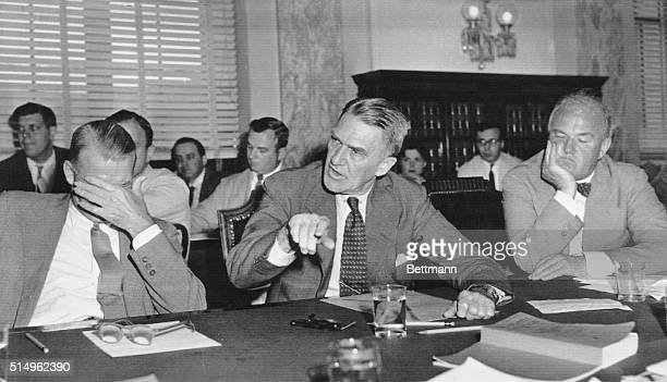 At Dixon Yates Hearing Washington DC Adolphe H Wenzell former vice president of the First Boston Corp makes a strong point during his appearance...