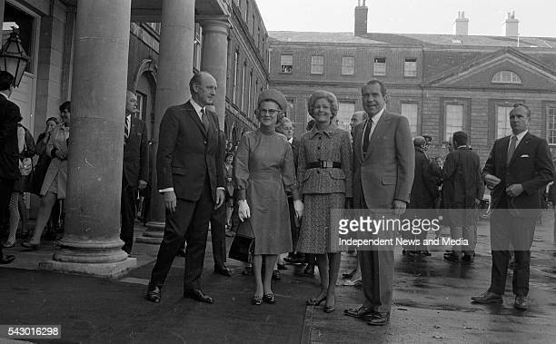 At Dublin Castle, US President Richard Nixon and An Taioseach Jack Lynch at a luncheon held in honour of Nixon's State visit, Dublin, Ireland, circa...