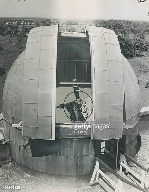At Dunlap observatory Dr Helen Hogg can be seen at telescope used to project image on paper Her associates at Mattice were blacked out by bad weather