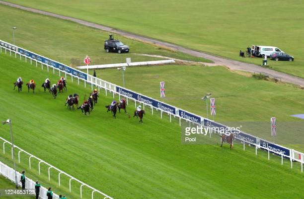 At Epsom Racecourse on July 04, 2020 in Epsom, England. The famous race meeting will be held behind closed doors for the first time due to the...