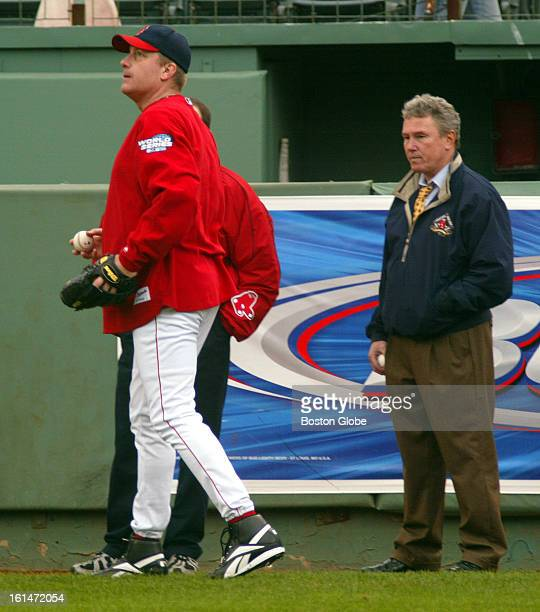 At Fenway Park during the first practice for the World Series which starts Saturday night Sox pitcher Curt Schilling wears his Reebok hightop shoes...
