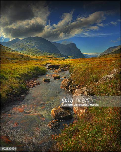 At Glen Etive, with a view to Buachaille Etive Mor, highlands of Scotland.