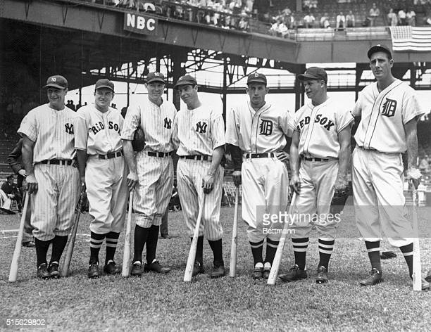 At Griffith Stadium, the 1937 All-Star American League. Left to right: Lou Gehrig; Joseph Cronin; Bill Dickey; Joe DiMaggio; Charlie Gehringer;...