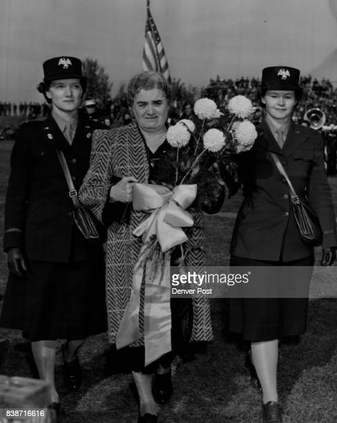 At halftime the two members of the army's Waac seen hereLieut Bernice L Woodward at the left and Lieut Marcella M McCue rightpresented a great...
