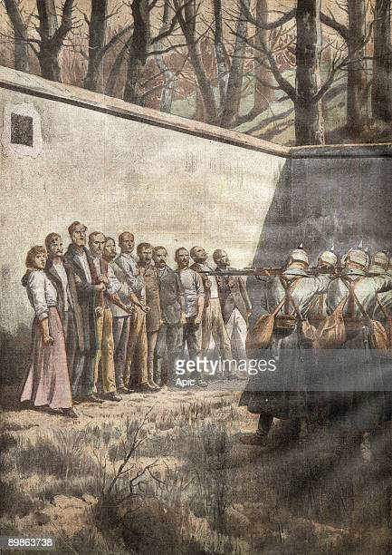 At Hasselt Belgium Germans arrest 120 on charges of spying eleven are executed on the spot illustration from french newspaper 'Le Petit Journal' 21...