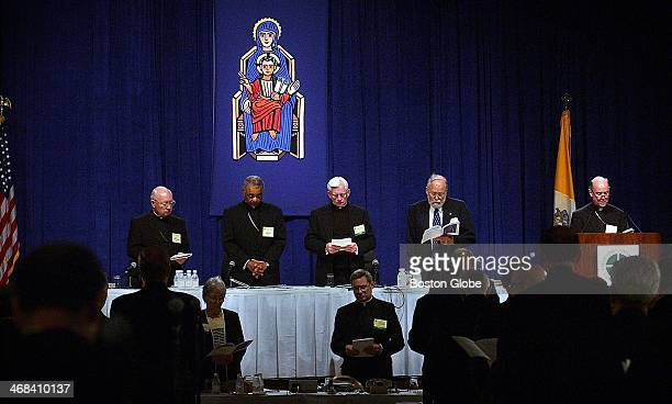 At head table left to right Bishop William Skylstad VP of the USCCB Bishop Wilton Gregory President of the USCCB Msgr William Fay General Secr of the...