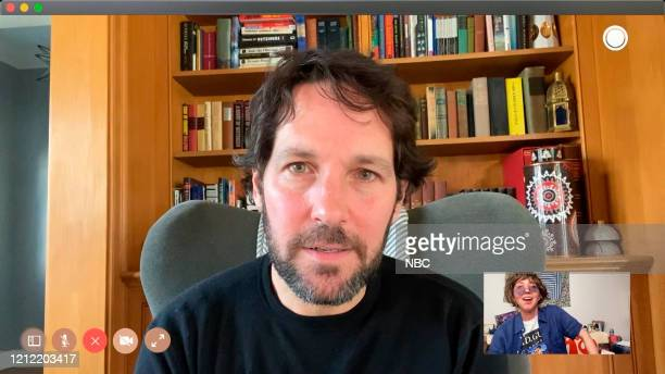 """At Home -- Episode 1784Q -- Pictured in this screengrab: Paul Rudd and Heidi Gardner during the """"FaceTime with Rudd"""" sketch on Saturday, April 25,..."""