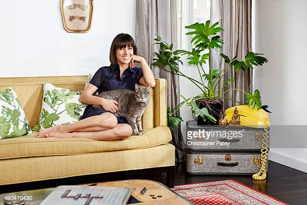 At home with Actress Constance Zimmer whose living room detail is photographed for Domaine Home on June 5 2015 in Studio City California