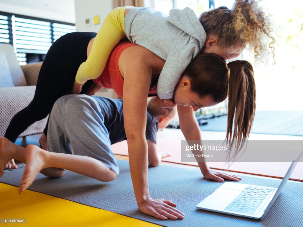 At home workout with kids : Stock Photo