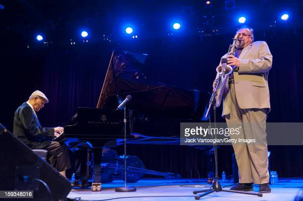At 'Jazz For Obama 2012 The Jazz Concert For America's Future' American musicians McCoy Tyner on piano and Joe Lovano on tenor saxophone perform...
