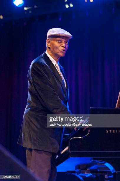 At 'Jazz For Obama 2012 The Jazz Concert For America's Future' American musician McCoy Tyner plays piano onstage at Symphony Space New York New York...