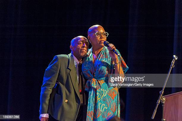 At 'Jazz For Obama 2012 The Jazz Concert For America's Future' American musicians Roy Haynes and vocalist Dee Dee Bridgewater perform onstage at...