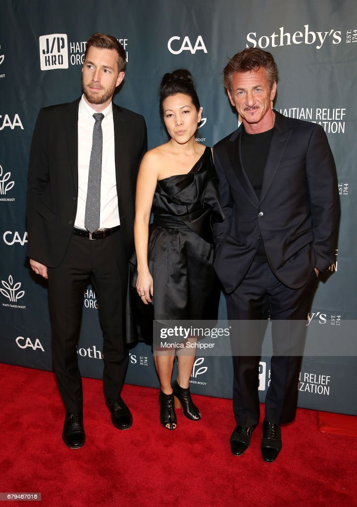CEO at J/P HRO Ann Lee (C) and Founder and Chairman of the Board of J/P HRO and Ambassador-at-Large for Haiti, actor Sean Penn (R) attend The Sean Penn & Friends Haiti Takes Root Benefit Dinner & Auction Supporting J/P Haitian Relief Organization at Sotheby's on May 5, 2017 in New York City.