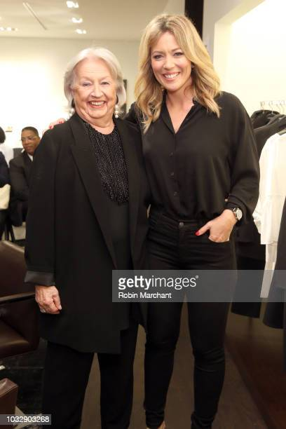 CEO at Lafayette148 Barbara Gast and journalist Brooke Baldwin pose at Lafayette 148 New York x April Ryan Under Fire Book Launch on September 13...