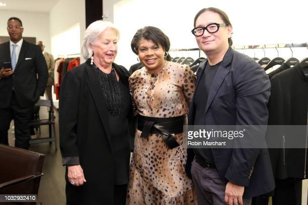 CEO at Lafayette148 Barbara Gast author and journalist April Ryan and a guest attend Lafayette 148 New York x April Ryan 'Under Fire' Book Launch on...