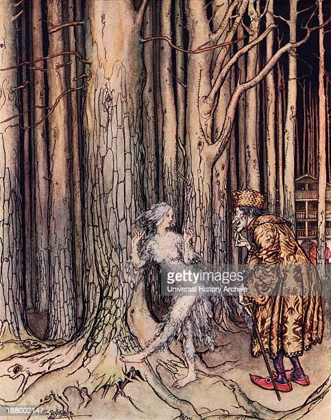 At Last She Met The Bridegroom Who Was Coming Slowly Back Illustration By Arthur Rackham From Grimm's Fairy Tale Fitcher's Bird Published Late 19Th...
