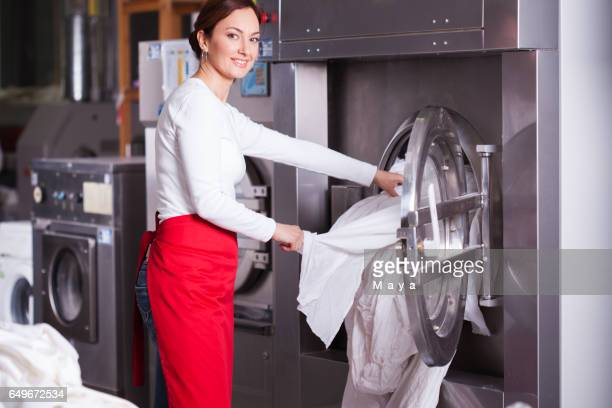 At laundry service.