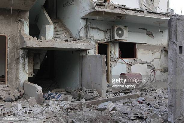 At least 5 people killed and carsbuildings destroyed during the air strikes by Syrian army warplanes on the ISILheld northern city of Raqqa Syria on...