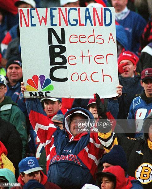 At least for today New England Patriots head coach Pete Carroll not pictured silenced many of his critics but not this fan toting a sign that reads...