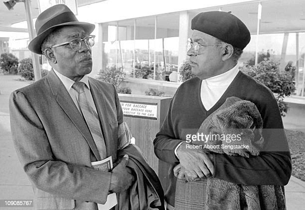 At left, Harlem Renaissance painter Aaron Douglas and influential filmmaker Carlton Moss attend the Black Esthetics show at the Museum of Science and...