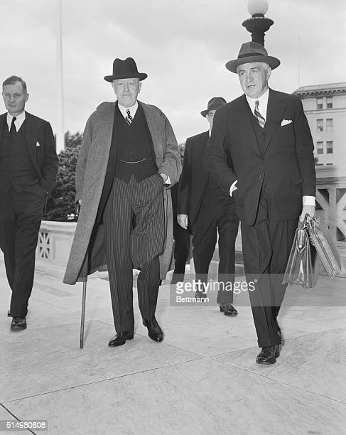 At left in photo is John W. Davis, one-time Democratic nominee for President of the U.S., arriving at Supreme Court with another member of his legal...