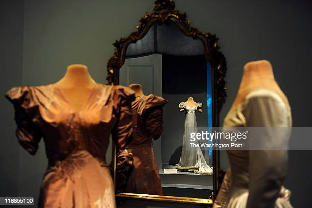 At left Marjorie Merriweather Post's motherofthebride peach gown worn during the marriage of her youngest daughter Nedenia Hutton At right Nedenia's...