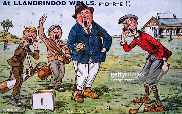 'At Llandrindod Wells FORE ' Golfing cartoon c1910s