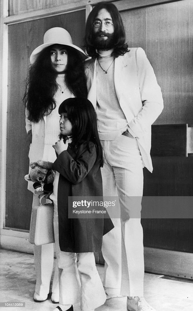At London Airport John LENNON His Wife Yoko ONO And Her Daughter KYOKO Aged
