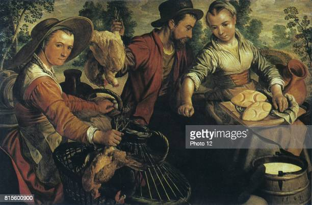 At Market' 1564 Oil on wood Joachim Beuckelaer Flemish painter and draftsman Woman on left holds two live chicken she has brought to market in the...