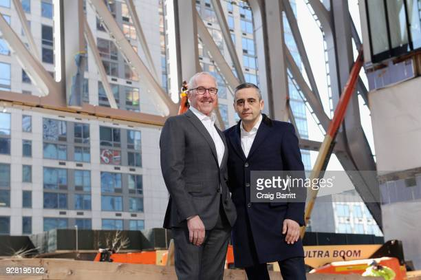 CEO at McCourt Global Board Member Frank McCourt and Founding Artistic Director and CEO at The Shed Alex Poots at The Shed pose as The Shed announces...