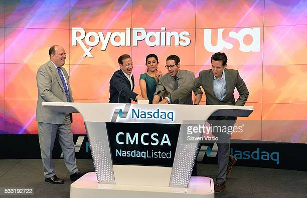 VP at NASDAQ OMX David Wicks Executive Producer Michael Rauch and cast members Reshma Shetty Paulo Costanzo and Ben Shenkman of USA Network's 'Royal...