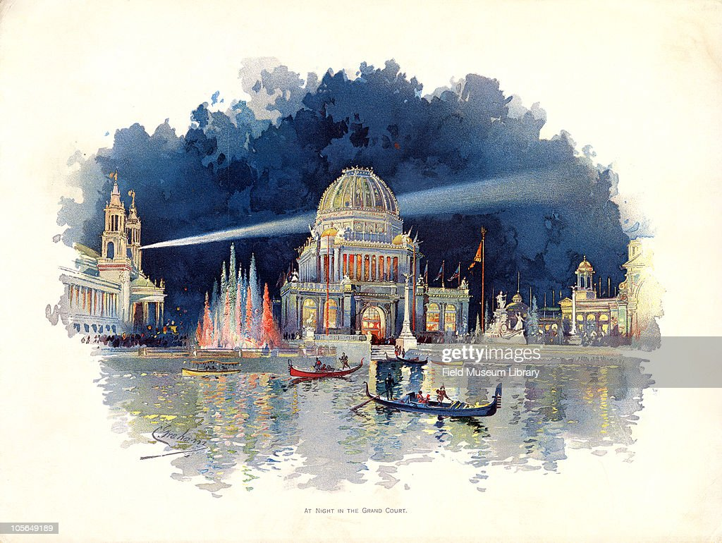 At Night in the Grand Court, Color plate by Charles S. Graham from 'The World's Fair in Water Colors', Size of original document approximately 88 x 11 inches, Chicago, Illinois, June 1, 1893.