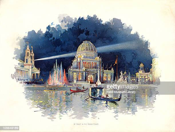 At Night in the Grand Court Color plate by Charles S Graham from 'The World's Fair in Water Colors' Size of original document approximately 88 x 11...